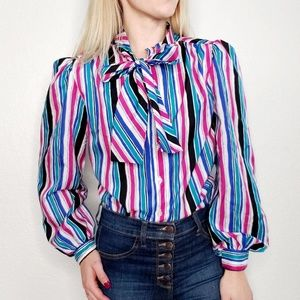 80s Vintage Striped Pussy Bow Button Down Blouse